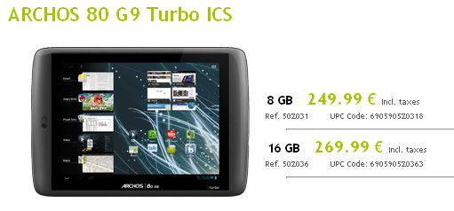 ARCHOS 80 G9 Turbo ICS