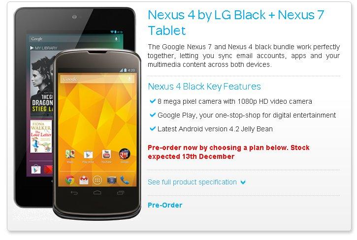 Fecha venta Nexus 4