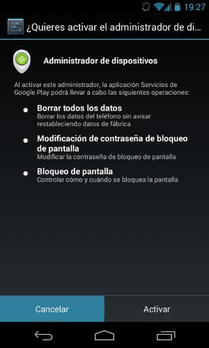 Notificación administrador dispositivos