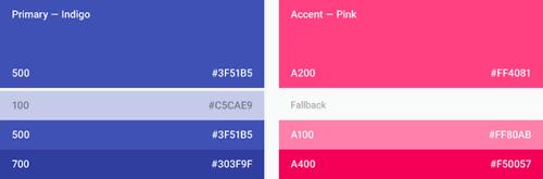 Material Design: Ejemplo de elección de colores